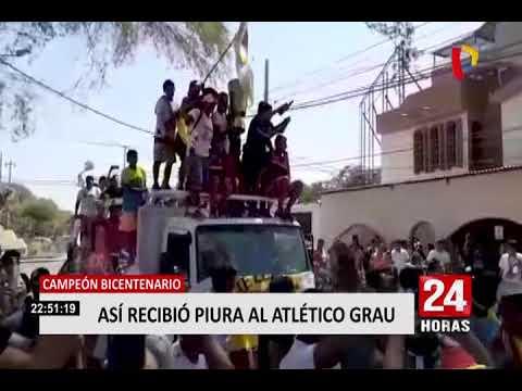 """""""Campeón Bicentenario: ¡En caravana! Así recibió Piura al Atlético Grau"""" Barra: Sentimiento Albo • Club: Atlético Grau"""