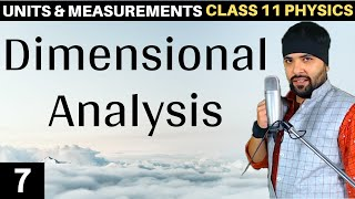 Dimensional Analysis Units and Measurements Class 11 IIT JEE Mains