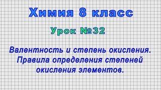 Химия 8 класс Урок 32 - Валентность и степень окисления. Правила определения степеней окисления.