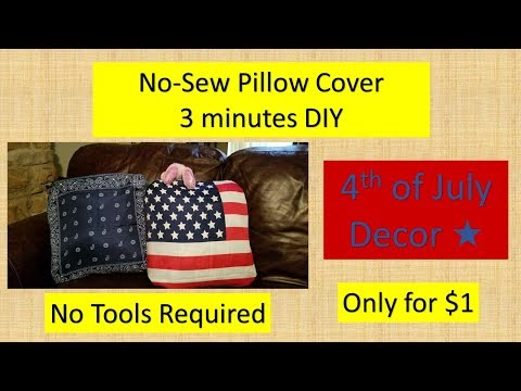 Super easy 4th of July non-sew pillow cover