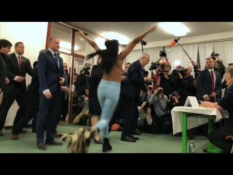 Femen topless protest as Czech president votes