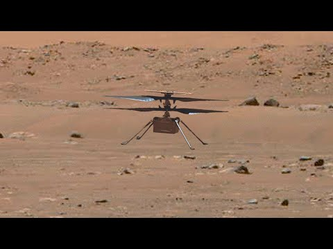 Helicopter Ingenuity's flight on Mars in 4K with dust swirling (enhanced video + sound)