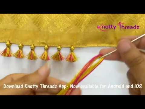 How to make Baby Kuchu Design using 2 colours   Double Colour Saree Tassels   www.knottythreadz.com