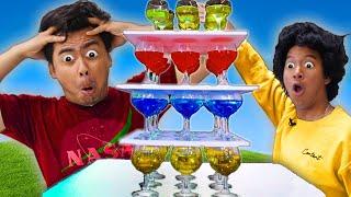 DON'T KNOCK OVER THE GLASS JENGA! - Challenge (ft. @Marlin)