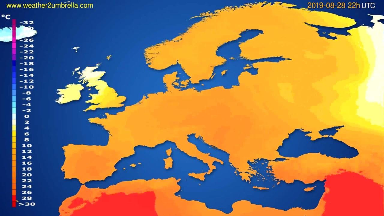 Temperature forecast Europe // modelrun: 12h UTC 2019-08-26
