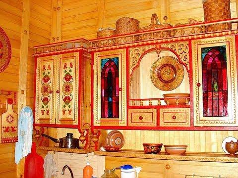 Народная резная и расписная мебель из дерева