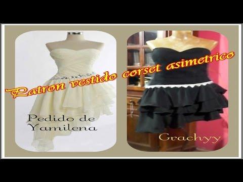 Trazo vestido asimetrico con volado y corset