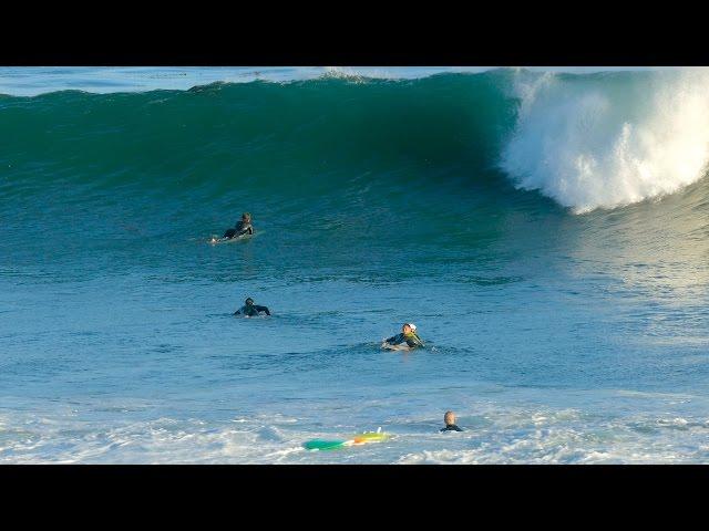 Surfers Fail to Get Past Big Waves while Surfing Santa Cruz, California 4k Video