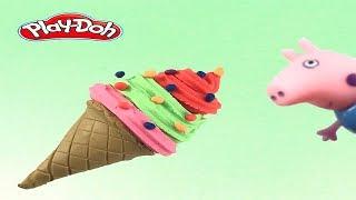 Peppa PIG watch make icecream playdoh rainbow   ไอศครีมแป้งโดว์และตัวเลข |ของเล่นเด็ก