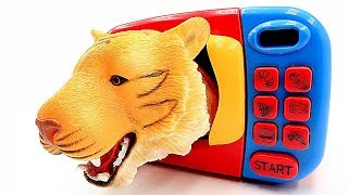 Learn Animals Names For Kids! Surprise Animal Fun Video. Microwave Oven Toys-Transformer tiger horse