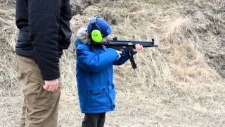 My 7 years old son first training with MP5 .22lr