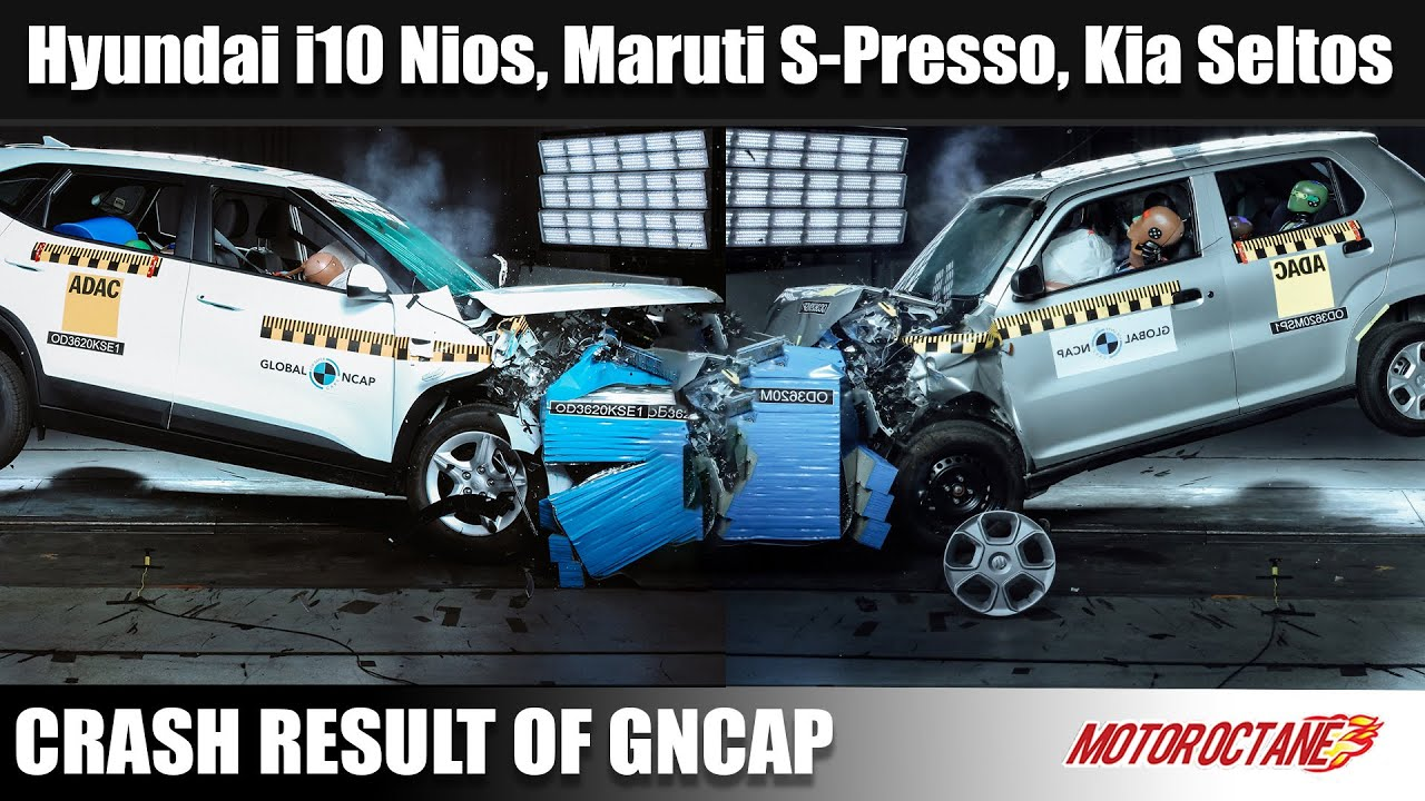 Motoroctane Youtube Video - Maruti S-Presso, Hyundai Grand i10 Nios, Kia Seltos Crash Test Results