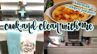 COOK AND CLEAN WITH ME // HOMEMADE SCALLOPED POTATOES