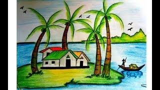 How To Draw Landscape Village Scenery ฟร ว ด โอออนไลน ด ท ว
