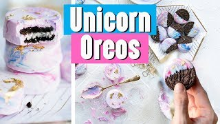 White Chocolate Dipped UNICORN OREOS (Recipe)