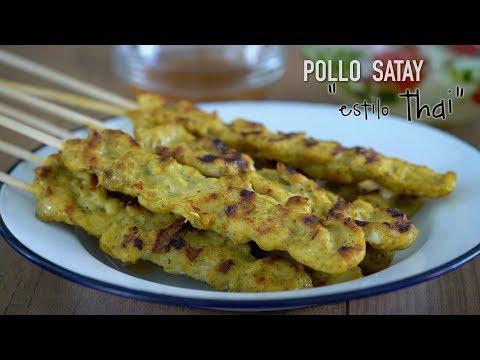 Pollo Satay (Receta Auténtica Thai) -  Easy Thai Chicken Satay Recipe