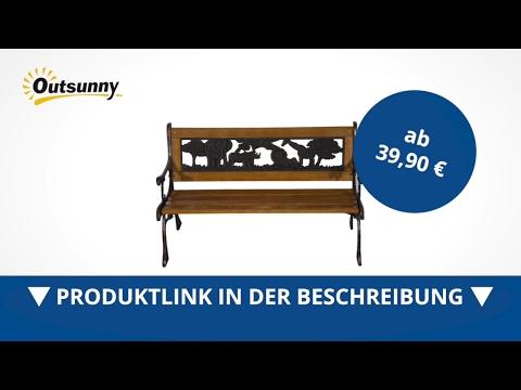 Outsunny Kinder Gartenbank Sitzbank Parkbank Bank Holzbank Metall Gartenmäbel  - direkt kaufen!