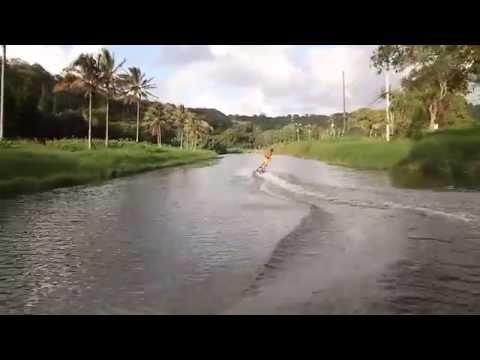 Laird Hamilton on motorized surfboard Jetsurf