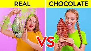 Video REAL FOOD VS CHOCOLATE FOOD CHALLENGE || Funny Prank Wars by 123 GO! Challenge MP3, 3GP, MP4, WEBM, AVI, FLV September 2019