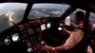 Uçak inişi. Pilot kabin kamerasindan uçağin yere inme anı