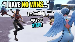 I pretended to be a RENEGADE RAIDER with 0 WINS on Fortnite... (Kid looked up my STATS!)