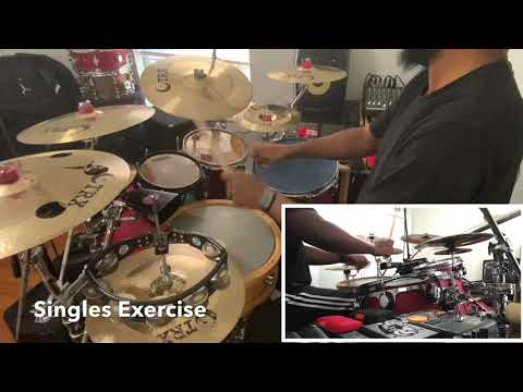 Single stroke drum set exercise.
