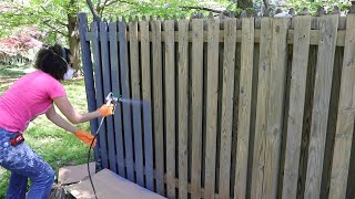 How to Use a Paint Sprayer to Paint a Wood Fence - Thrift Diving
