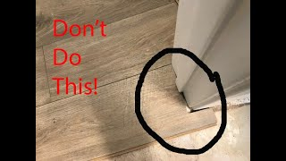 How to install laminate flooring around doors and cabinets.