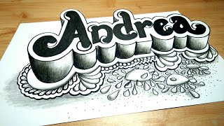 How To Draw Doodle Art 3d Andrea Name On Paper - Andrea Dian - Drawing 3d