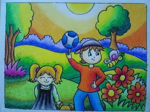 Mewarnai Pemandangan Taman Dengan Gradasi Crayonoilpastel