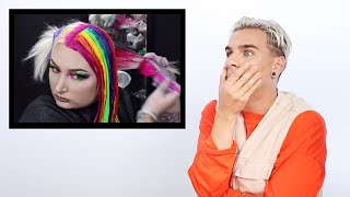 Hairdresser Reacts To Rainbow Hair