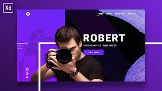 Photographer Portfolio Landing Page UI Design   Adobe XD Speed Art