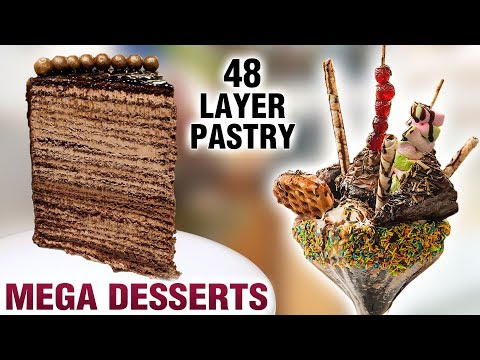 Mega Desserts | Largest Pastry In Mumbai | 48 Layer Pastry | Jumbo Sundae | Mega Foods 2019