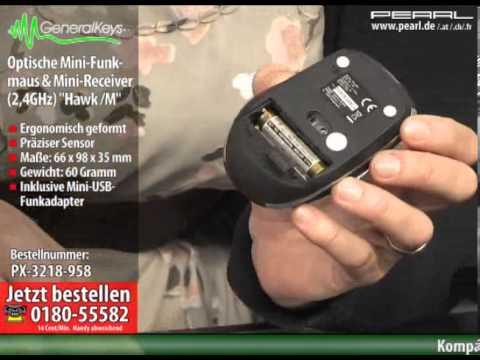 """GeneralKeys Optische Mini-Funkmaus 2,4 GHz mit Mini-Receiver """"Hawk /M"""""""