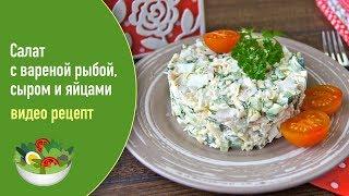 Салат с вареной рыбой, сыром и яйцами — видео рецепт
