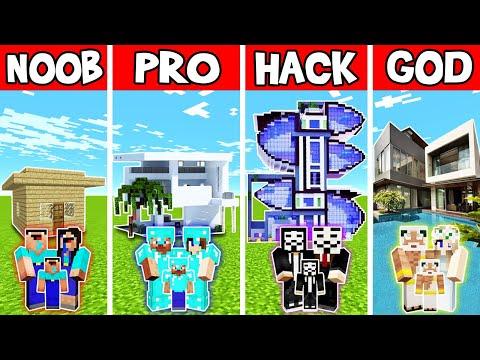 Minecraft: FAMILY RESORT HOUSE BUILD CHALLENGE - NOOB vs PRO vs HACKER vs GOD in Minecraft
