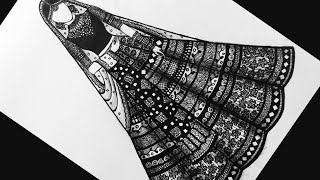 Doodle Art| Zentangle Art | Indian Bride In Lehenga |(time Lapse)|Twilight Time Art
