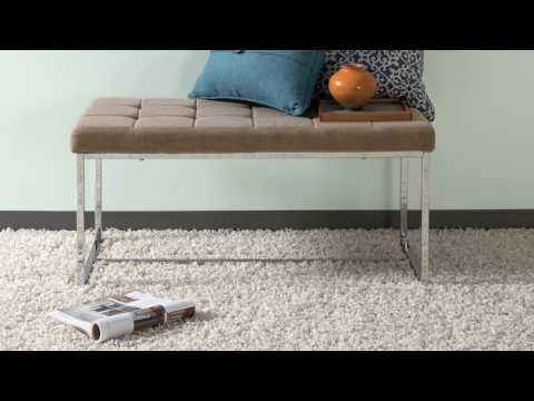 Video for Huntington Modern Brown FabriWide Bench with Chrome Base