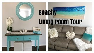 BEACHY DECOR LIVING ROOM TOUR