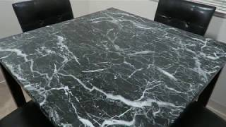 Harbor & Bright Designs 5 Piece Dining Room Set | Black Faux Marble Table Counter