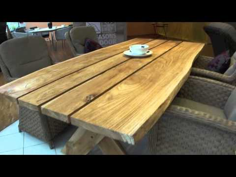 4Seasons Teakholz-Gartentisch Palazzo mit rustikaler Natur-Optik Holzplatte