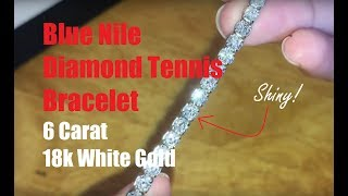 Unboxing And Review: Blue Nile Diamond Tennis Bracelet 6 Carat 18k White Gold (包包开箱视频)
