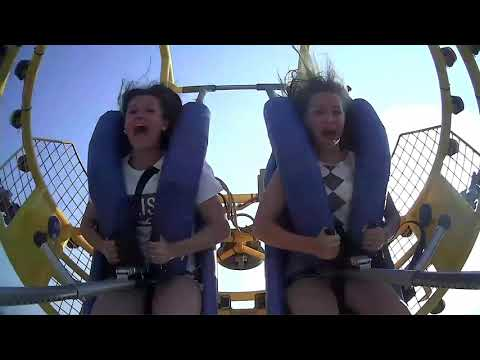 Seagull gets Caught in a Sling Shot Ride