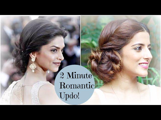 2 Minute Romantic Bun Hairstyle Deepika Padukone Easy Updo Hairstyles Indian Hairstyles Vtomb