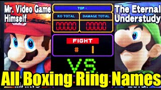 All Character Aliases on Boxing Ring/Punch Out Stage in Super Smash Bros Wii U