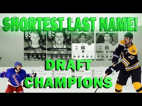 NHL 17 HUT Shortest Last Name Draft Champions Draft
