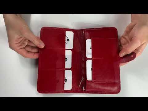 Moteriška odinė piniginė 18x11x2 M22RD+dovanų pakavimas+šilkas nosinė kaina ir informacija | Piniginės, kortelių dėklai moterims | pigu.lt