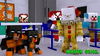Minecraft MONSTER SCHOOL - IT THE SCARY CLOWN TAKES OVER MY SCHOOL
