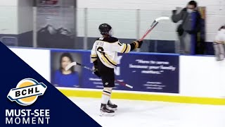 Must See Moment: Ryan Tattle breaks his stick on a shot and it goes in!