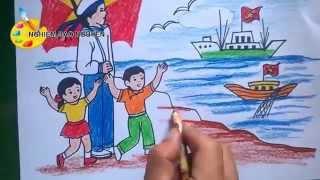 Vẽ tranh Biển đảo/How to Draw Sea Island